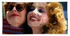Susan Sarandon And Geena Davies Alias Thelma And Louis - Watercolor Hand Towel by Doc Braham