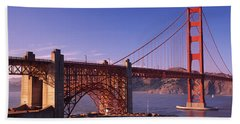 Suspension Bridge At Dusk, Golden Gate Bath Towel