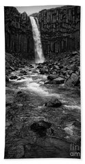 Svartifoss Waterfall In Black And White Bath Towel