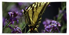 Swallowtail Butterfly On Lavender  Hand Towel