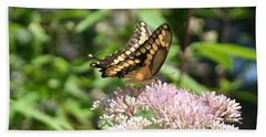 Hand Towel featuring the photograph Swallowtail by Karen Silvestri