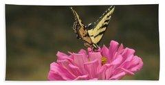 Swallowtail On A Zinnia Bath Towel by Debby Pueschel