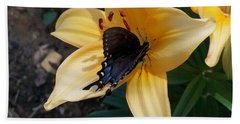 Hand Towel featuring the photograph Swallowtail On Asiatic Lily by Kathryn Meyer