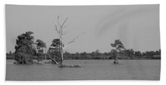 Bath Towel featuring the photograph Swamp Cypress Trees Black And White by Joseph Baril