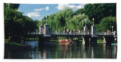 Swan Boat In The Pond At Boston Public Bath Towel