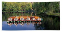 Swan Boats In A Lake, Boston Common Bath Towel