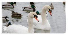 Swan Couple Bath Towel by Laurel Best