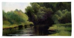 Hand Towel featuring the painting Swan Creek by Janet King