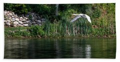 Swan In Flight Hand Towel by Eleanor Abramson