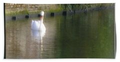 Hand Towel featuring the photograph Swan In The Canal by Victoria Harrington