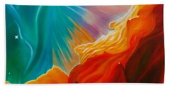 Hand Towel featuring the painting Swan Nebula by Barbara McMahon