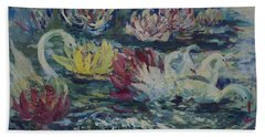 Swans In Lilies  Hand Towel