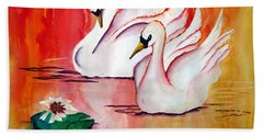 Swans In Love Bath Towel