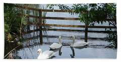 Swans In The Pond Hand Towel