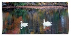 Hand Towel featuring the photograph Swans by Karen Silvestri