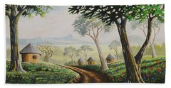 Hand Towel featuring the painting Sweet Home by Anthony Mwangi