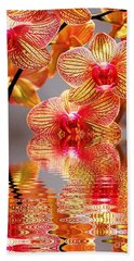 Hand Towel featuring the photograph Sweet Orchid Reflection by Judy Palkimas
