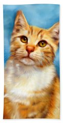 Sweet William Orange Tabby Cat Painting Hand Towel