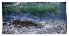 Swells In Doninos Beach Galicia Spain Hand Towel
