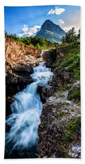 Swiftcurrent Falls Bath Towel by Aaron Aldrich