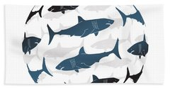 Swimming Blue Sharks Around The Globe Hand Towel by Amy Kirkpatrick