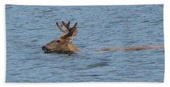 Swimming Deer Bath Towel by Leone Lund