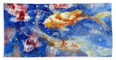 Swimming Koi Fish Hand Towel