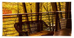 Swinging In Autumn Trees Original Photograph Hand Towel