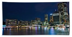 Sydney Cityscape By Night Hand Towel by Kaye Menner