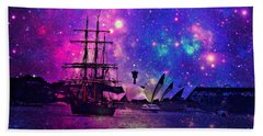 Sydney Harbour Through Time And Space Bath Towel by Leanne Seymour