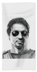 Sylvester Stallone - The Expendables Hand Towel by Fred Larucci