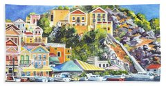 Symi Harbor The Grecian Isle  Hand Towel