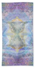Synthecentered Doublestar Chalice In Blueaurayed Multivortexes On Tapestry Lg Hand Towel