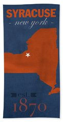 Syracuse University New York Orange College Town State Map Poster Series No 102 Hand Towel