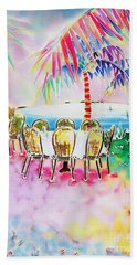 Tables On The Beach Bath Towel