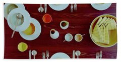 Tableware Set On A Wooden Table Hand Towel