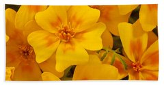 Hand Towel featuring the photograph Tagette Marigold Blossoms Macro by Sandra Foster
