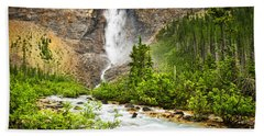 Takakkaw Falls Waterfall In Yoho National Park Canada Bath Towel