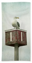 Hand Towel featuring the photograph Gull With Blue And Red by Brooke T Ryan