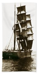 Bath Towel featuring the photograph Tall Ship Germania Out Of San Francisco California  Circa 1900 by California Views Mr Pat Hathaway Archives