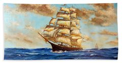Tall Ship On The South Sea Bath Towel by Lee Piper