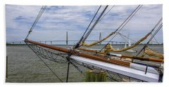 Bath Towel featuring the photograph Tall Ships In Charleston by Dale Powell