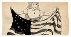 Hand Towel featuring the drawing Tammy And The Flag by Reynold Jay