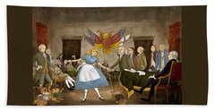 Hand Towel featuring the painting Tammy In Independence Hall by Reynold Jay