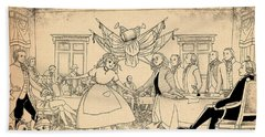 Hand Towel featuring the drawing Tammy In Indpendence Hall by Reynold Jay
