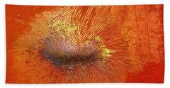 Tangerine Burst Hand Towel by Leanna Lomanski