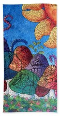 Bath Towel featuring the painting Tangled Mushrooms by Megan Walsh