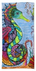 Hand Towel featuring the drawing Tangled Seahorse by Megan Walsh