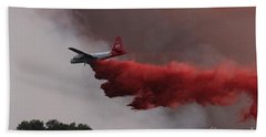 Tanker 07 Drops On The Myrtle Fire Bath Towel by Bill Gabbert