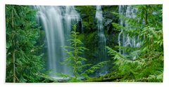 Pacific Northwest Waterfall Hand Towel by Nick  Boren